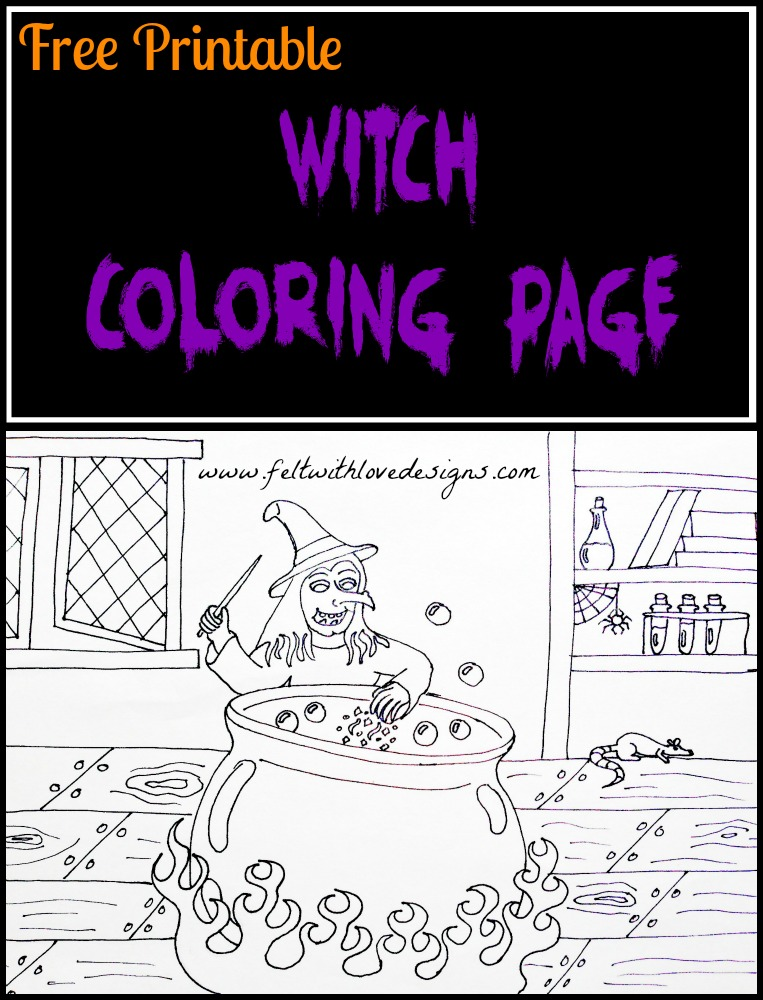 free printable coloring page witch felt with love designs