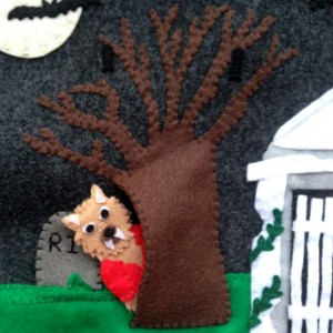 Halloween Quiet Book - Cemetery Page Wolfman Peeking