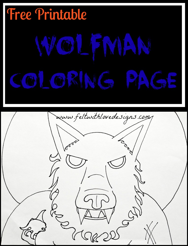 Free Printable Coloring Page - Wolfman! - Felt With Love Designs