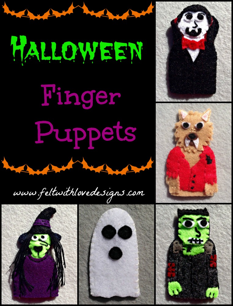 Halloween Finger Puppets - Witch, Werewolf, Vampire, Ghost, and Frankenstein {Felt With Love Designs}