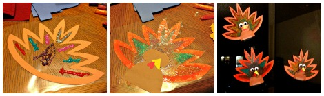 Pinterest Projects: Glitter Glue Turkey Suncatchers
