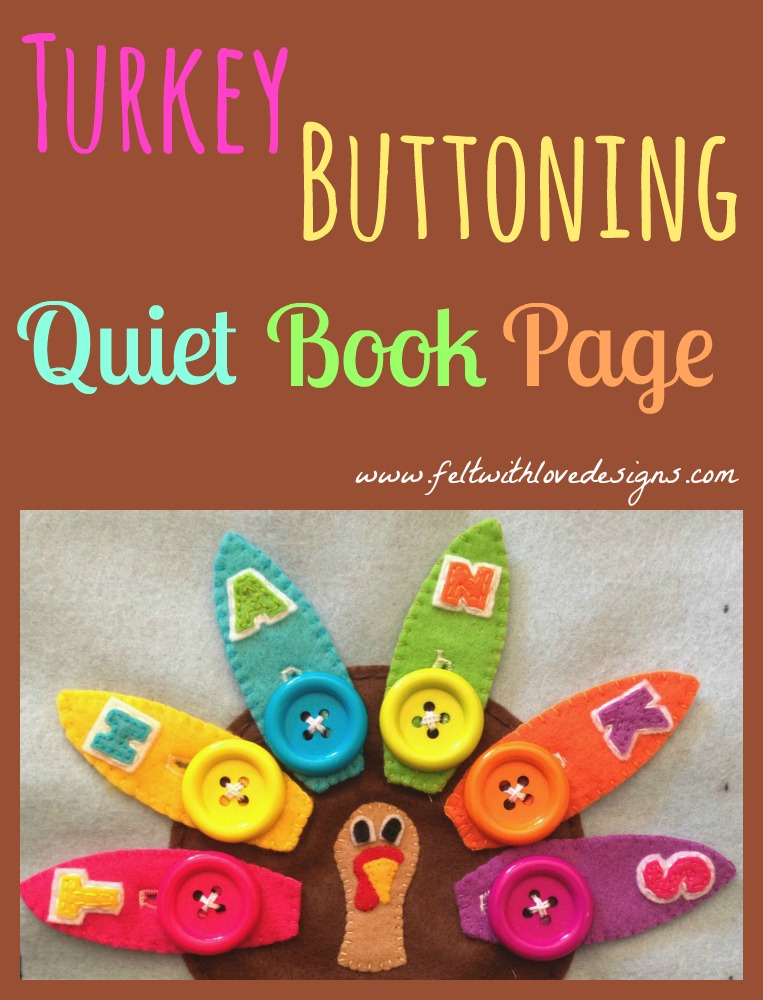 Turkey Button Quiet Book Page Title
