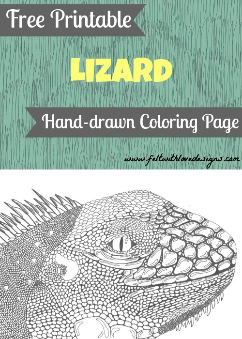 Printable Wild Animal Coloring Page  Lizard  Felt With Love Designs