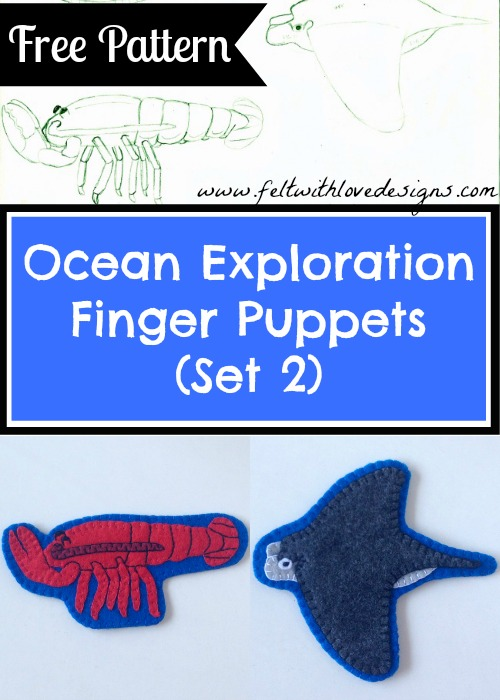 Ocean Exploration Finger Puppets and Free Pattern - Felt With Love Designs