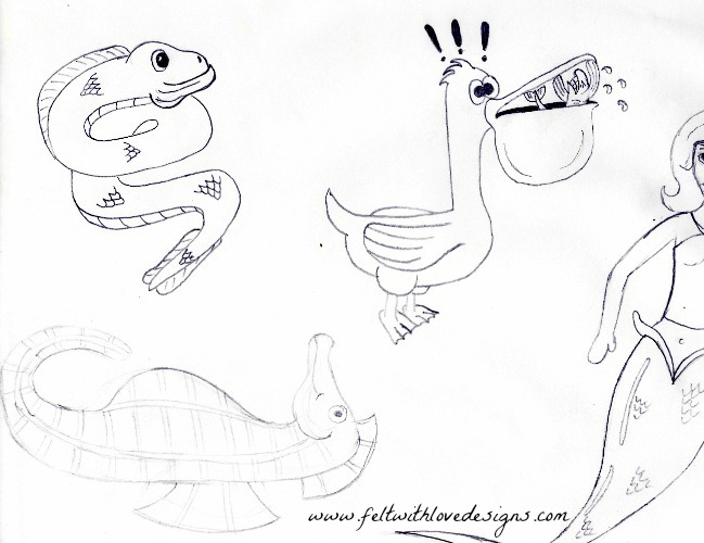 Ocean Finger Puppets - Set 2 - Sketch 2
