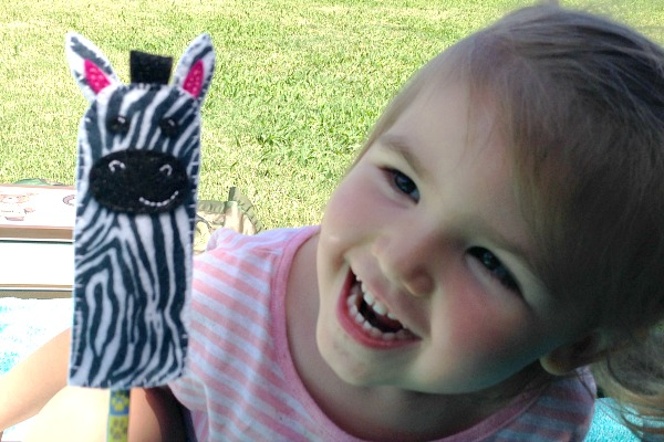 Zebra Finger Puppet Playing - Felt With Love Designs