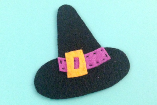 Felt Halloween Ornaments Set 2 Tutorial and Free Pattern - witch hat band - Felt With Love Designs