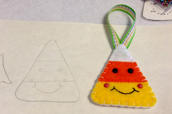 Felt Halloween Ornaments Tutorial and Free Pattern - Candy Corn Finished - Felt With Love Designs