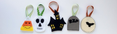 Felt Halloween Ornaments Tutorial and Free Pattern
