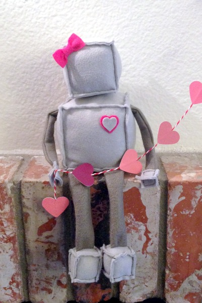 Robot Softie Mystery Challenge - hearts - Felt With Love Designs