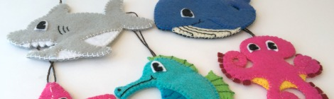 Felt Toddler-Friendly Christmas Ornaments - Set of 5 Sea Animals