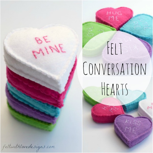 Felt Conversation Hearts Free Pattern and Tutorial square - Felt With Love Designs