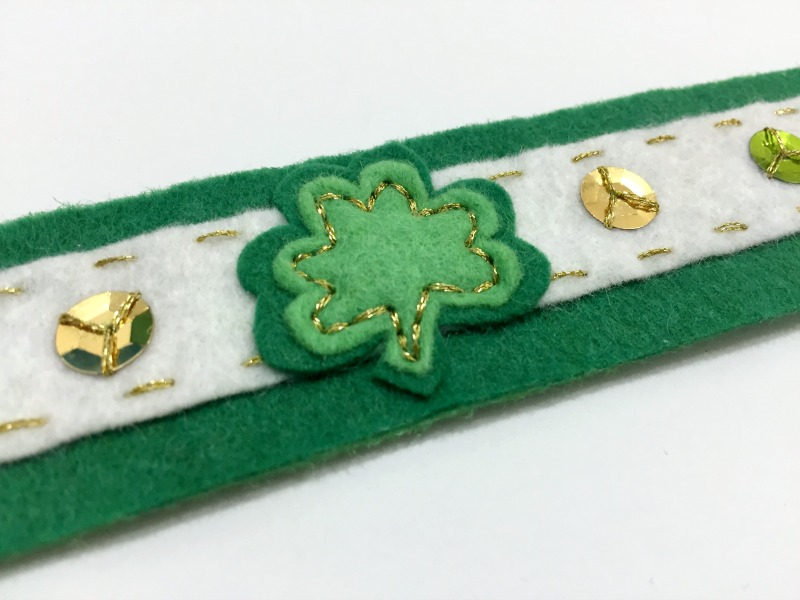 St Patrick's Day Shamrock Bracelet Tutorial and Free Pattern - Felt With Love Designs-3