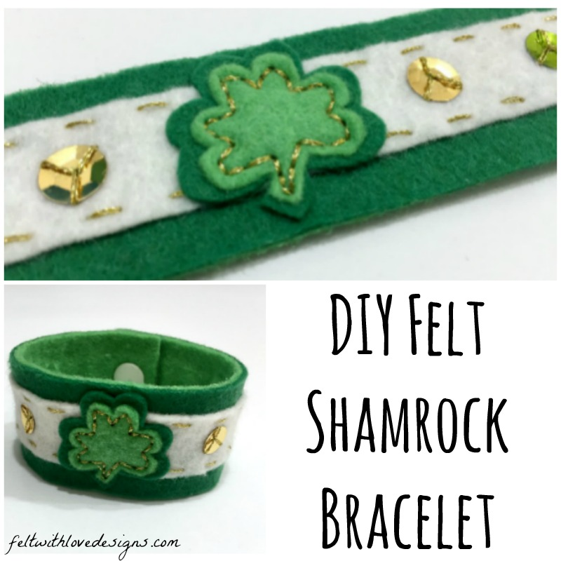 St Patrick's Day Shamrock Bracelet Tutorial and Free Pattern - Felt With Love Designs-Square