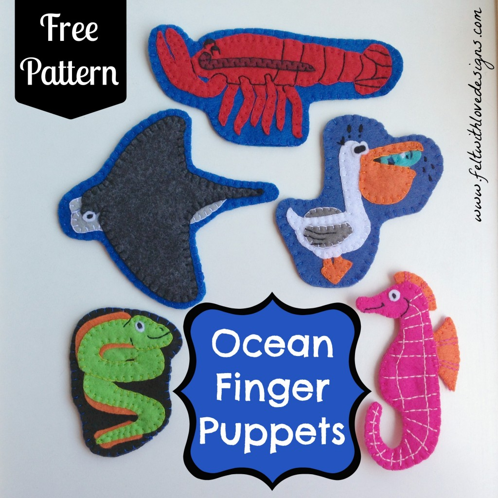 Ocean Exploration Finger Puppets Tutorial and Free Pattern Set 2 - Felt With Love Designs