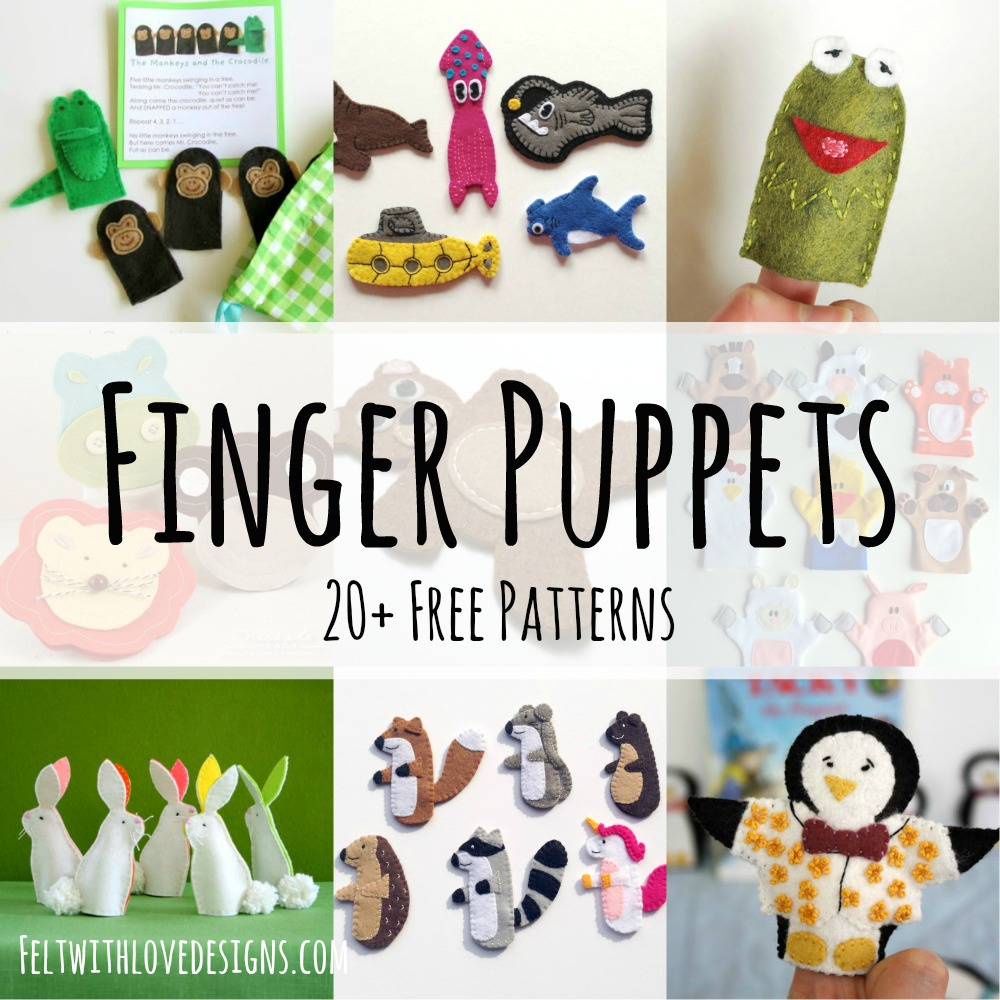 More than 20 free finger puppet patterns to download and sew today