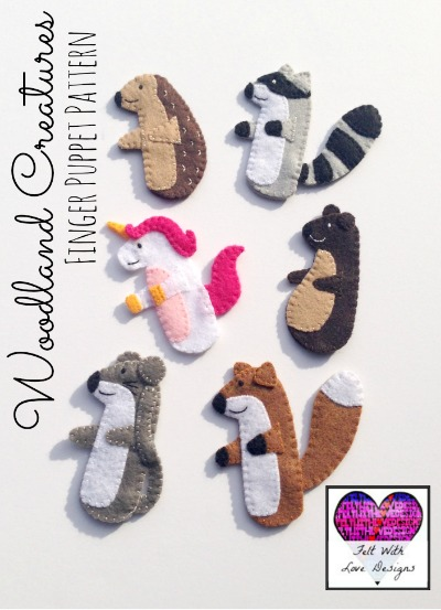 Woodland Creatures Finger Puppet PDF Sewing Pattern - Felt With Love Designs