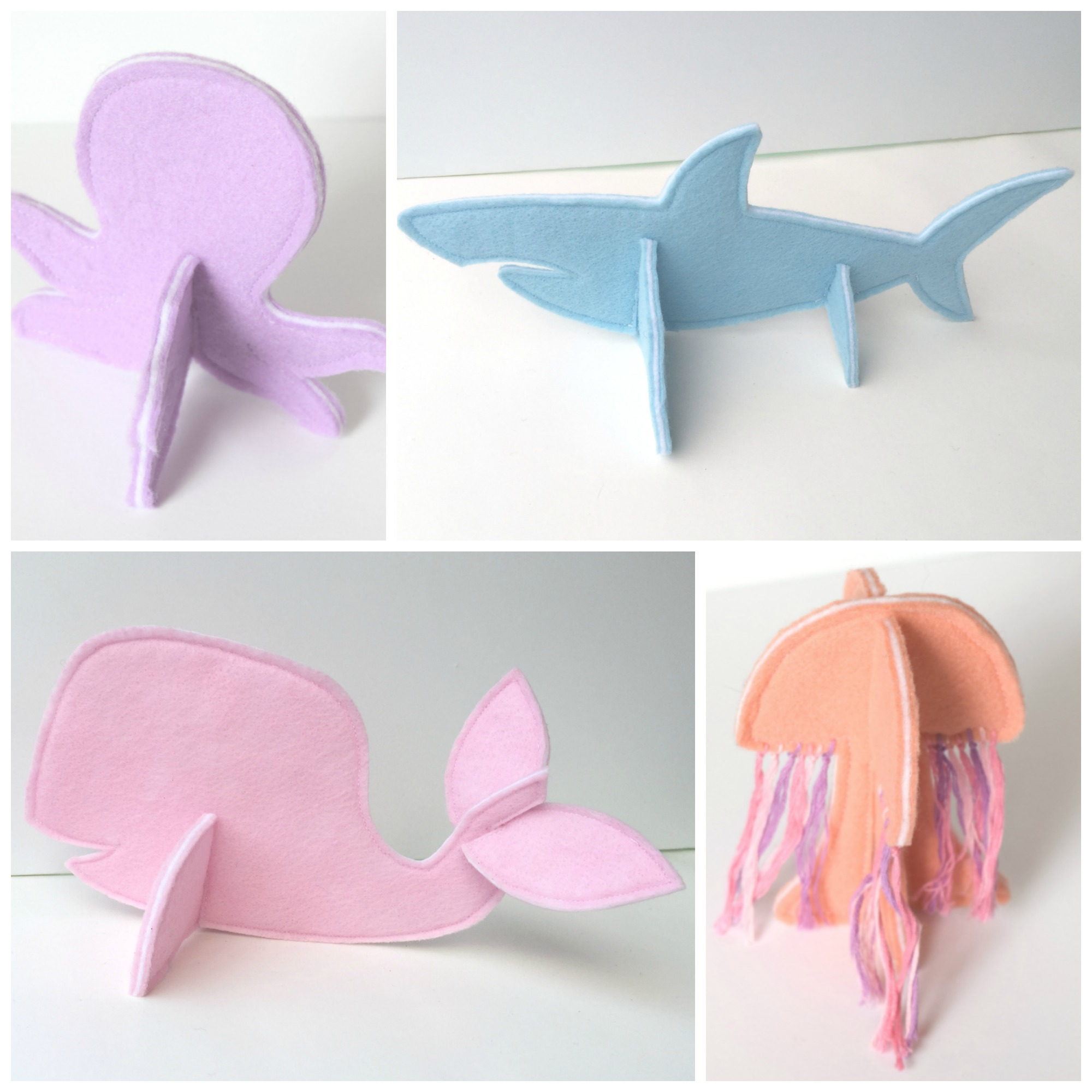 felt 3d puzzle animals sewing pattern - ocean animals set - felt with love designs
